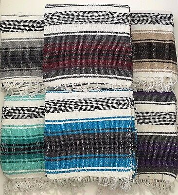 Mexican Falsa Blanket Throw Rug 120x185cm HAND LOOMED Recycled Yoga Camping DL • 24£