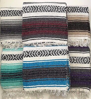 Mexican Falsa Blanket Throw Rug 120x185cm HAND LOOMED Recycled Yoga Camping DL • 25.50£
