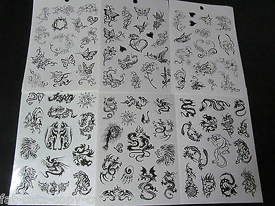 £2.95 • Buy 6x SHEET UNISEX GIRLS LADIES TEMPORARY TATTOOS BLACK ARTY BUTTERFLY ROSES CELTIC