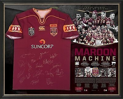 AU2495 • Buy Queensland State Of Origin Signed Jersey Framed Thurston Official 2016 Winners