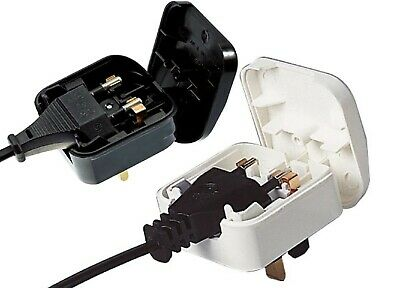 Euro Europe To UK Plug Converter 2 To 3pin Pins  5A Fused WHITE Adapter BS5733 • 4.99£