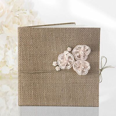 Hessian Guest Book - Flower Lace Design - 22 Pages - Rustic Wedding • 13.95£