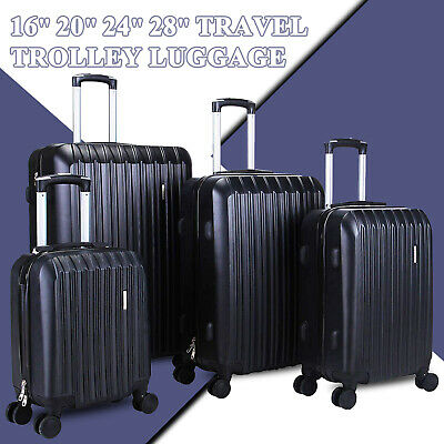 "View Details 4 Piece ABS Luggage Set Light Travel Case Hardshell Suitcase 16""20""24""28"" Black • 98.90$"
