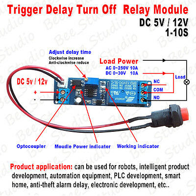 AU6.46 • Buy Adjustable Delay Turn OFF Switch Timing Timer Board Time Relay Module 1~10s