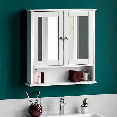 Bathroom Wall Cabinet Double Mirror Door Wooden White Shelf New By Home Discount • 28.95£