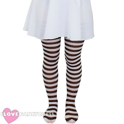 £3.99 • Buy Child Brown And White Striped Tights School Book Week Fancy Dress Accessory