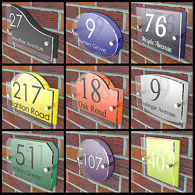 House Number Plaques Door Sign Vibrant Colour Back Acrylic Name Road Display • 9.97£