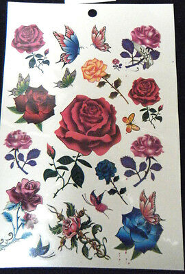 Sheet Girls Ladies Temporary Tattoos Colourful Black Flowers Roses Hearts Celtic • 1.49£