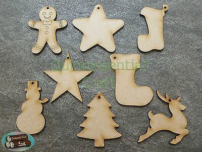 Wooden Laser Cut Christmas Shape Decoration Craft Blanks • 2.77£