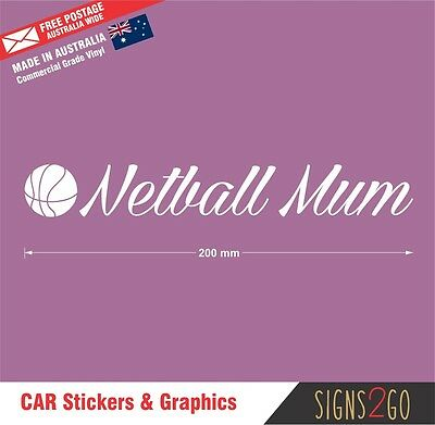 AU9.95 • Buy NETBALL STICKER NETBALL MUM Lettering For Car Van SUV 4x4 Bus Laptop IPad