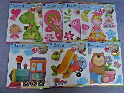 Fun Childrens Wall Stickers Trains Planes Bugs  Princess Birds Bears Animals • 4.99£
