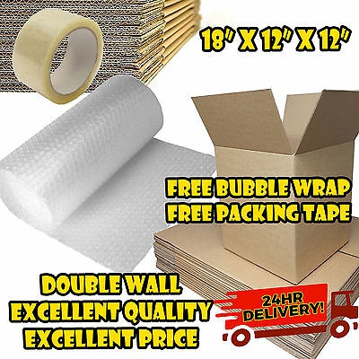 NEW 20 X LARGE DOUBLE WALL Cardboard Box Moving Boxes - Removal Packing Storage • 20.50£