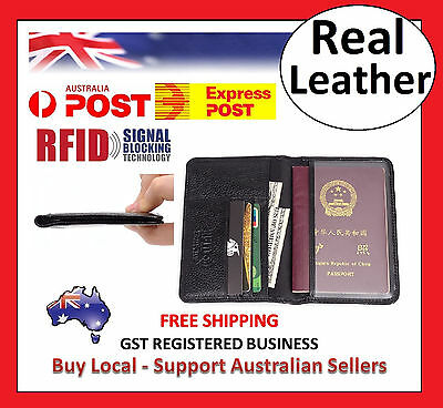 AU19.95 • Buy RFID Mens Womens Passport Wallet Security Lined Full Grain Cow Leather BLACK M6
