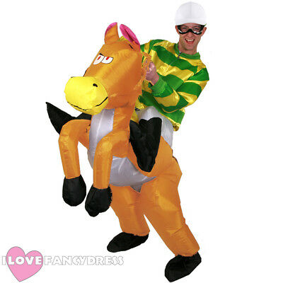Green Jockey Riding Inflatable Horse Costume Fancy Dress Stag Funny Pub Crawl • 46.99£