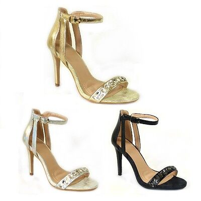 £12.99 • Buy Ladies Stiletto Ankle Cuff Strap Womens High Heel Strappy Sandals Peep Toe Shoes