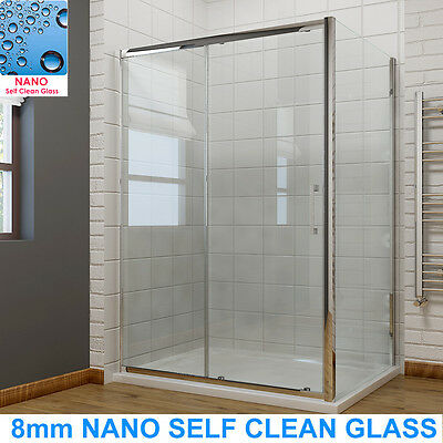 £129.99 • Buy Shower Enclosure Sliding Door Cubicle Side Panel And Tray&Waste 8mm NANO Glass