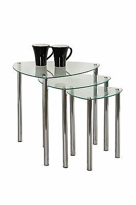 Coffee Table Decore Stylish Set Of 3 Clear Glass Side -GNT06C • 39.99£
