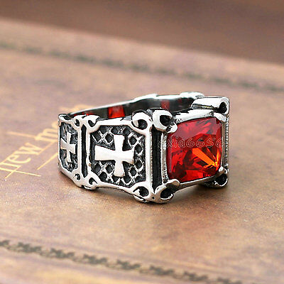 $8.99 • Buy Mens Vintage Christian Templar Holy Cross Ruby Red CZ Stone Stainless Steel Ring