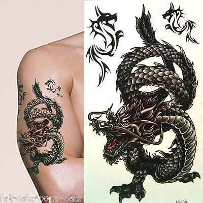 1 Sheet Black Mens Boys Black Dragon Angry Tiger Designs Temporary Tattoos Uk • 1.49£