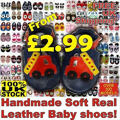 SOFT LEATHER BABY First SHOES PRAM GIRLS BOYS 0-6,6-12,12-18,18-24 MONTHS (CC) • 4.99£