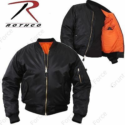 $54.99 • Buy Concealed Carry MA-1 Flight Jacket - Mens Black Military Type CCW Winter Coat