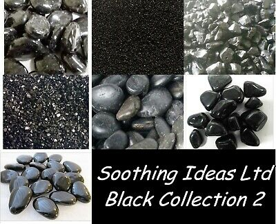 Black Collection 2 Mirror Granules Polished River Stones Beans Chippings & Sand • 14.20£