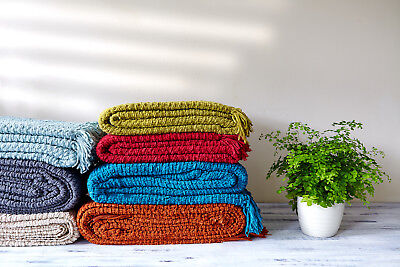 £14.95 • Buy Luxury Chunky Chenille Knitted Sofa / Bed Throw Blanket In 7 Colours
