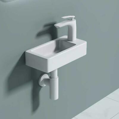Small Compact Cloakroom Wash Basin Sink Mini Ceramic Wall Mounted 370 X 180 Mm • 34.95£