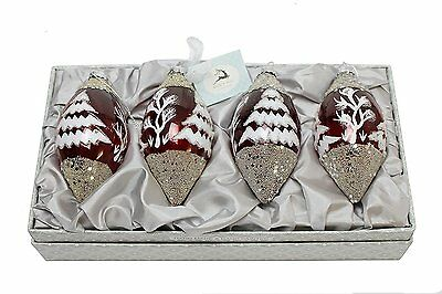 Red And White Sparkle Teardrop Christmas Tree Decorations (Set Of 4) … • 25£
