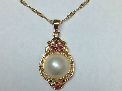 $449 • Buy Amazing! Mabe Pearl Ruby In 14k Yellow Gold Chain Pendant Necklace 17.5