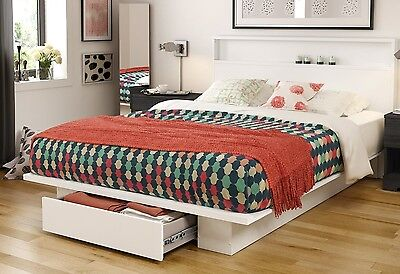 $355 • Buy White Queen 1-Drawer Storage Platform Bed Home Furniture Headboard Included