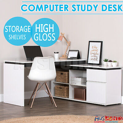 AU388.99 • Buy High Gloss Storage Corner Desk Home Office Computer Table Cabinet Study White