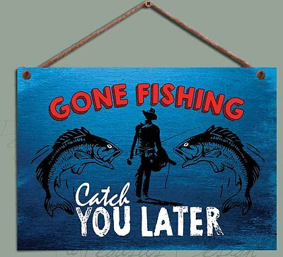 £8 • Buy Gone Fishing Wooden Sign, Fisherman Gift  Catch You Later` Chic  Wooden Plaque