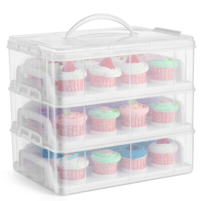 Cupcake Carrier Holder Container Box Plastic Storage Basket Taker Courier, Clear • 32.18£