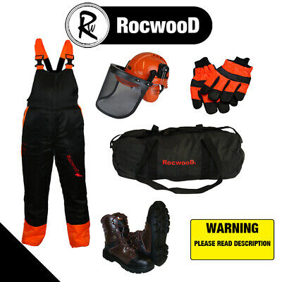 Chainsaw Safety Forestry Protection Kit Bib Brace Trousers Helmet Boots Gloves • 139.99£