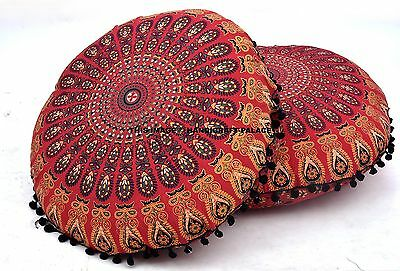Peacock Mandala Round Tapestry Indian Ottoman Floor Pillow Cover Boho Poufs 2 PC • 22.99£