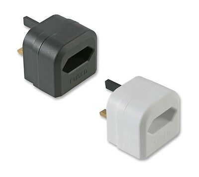 2 Pin To 3 Pin UK Battery Charger Mains Adaptor 3A Plug - Black Or White • 4.99£