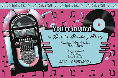 Personalised Rock N Roll Music Jukebox Birthday Party Invites Inc Envelopes B86 • 0.99£