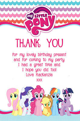 Personalised My Little Pony Birthday Party Thank You Cards Inc Envelopes MLP5TY • 0.99£