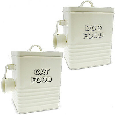 £9.99 • Buy Dog Cat Food Storage Container With Scoop Enamel Lid Tin Home Retro Vintage New