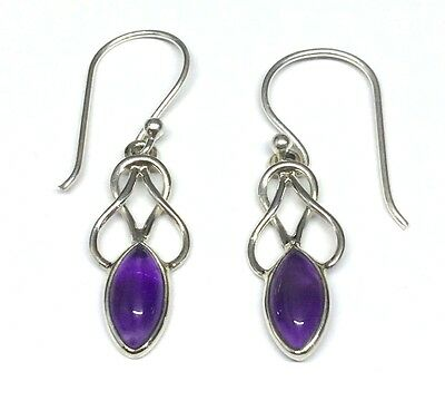 Handmade In 925 Sterling Silver Real Amethyst Celtic Drop Earrings With Gift Bag • 15.95£