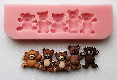 9cm TEDDY BEAR BORDER SILICONE MOULD FOR CAKE TOPPERS, CHOCOLATE, CLAY ETC • 5.99£