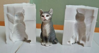 3D CAT 5 X 2cm SILICONE MOULD FOR CAKE TOPPERS, CHOCOLATE, CLAY ETC • 9.99£