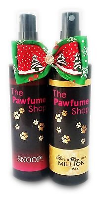 Christmas Twin Pack PAWFUME In Gift Bag And Bow, Dog Perfume,cologne,fragrance • 14.99£