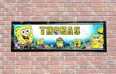 Personalized Customized SpongeBob Name Banner Wall Decor Poster With Frame Set • 28.55£
