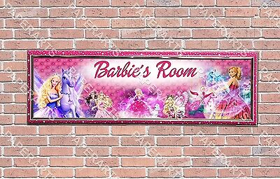 Personalized Customized Barbie Name Banner Wall Decor Poster With Frame  • 27.61£