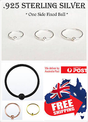 AU5.45 • Buy 1pc S925 Sterling Silver 22g 0.6mm One Side Fixed Ball Hoop Ring Lip Nose Ear