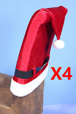 Santa Hat Christmas Chair Cover Xmas Decoration 4 Pack • 14.99£