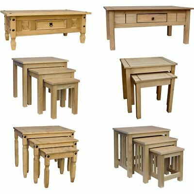 Corona Panama Coffee Table Nest Of Tables MDF Solid Waxed Pine Mexican Furniture • 52.95£