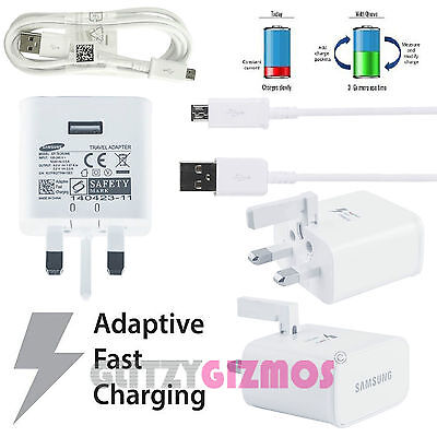 Genuine Real Samsung Galaxy Adaptive Fast Quick Rapid Charger & Micro Usb Cable • 2£